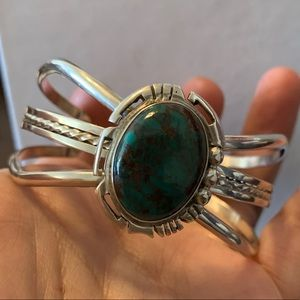 Navajo Turquoise And Sterling Cuff